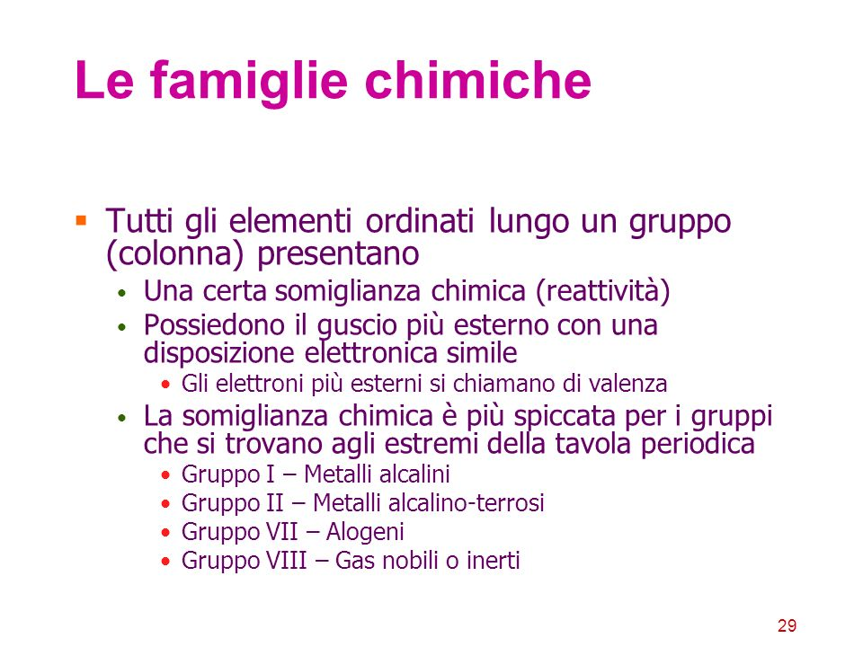 Le famiglie chimicheTutti gli elementi ordinati lungo un gruppo (colonna) presentano. Una certa somiglianza chimica (reattività)