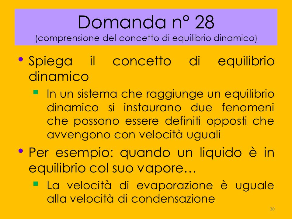 Domanda n° 28 (comprensione del concetto di equilibrio dinamico)