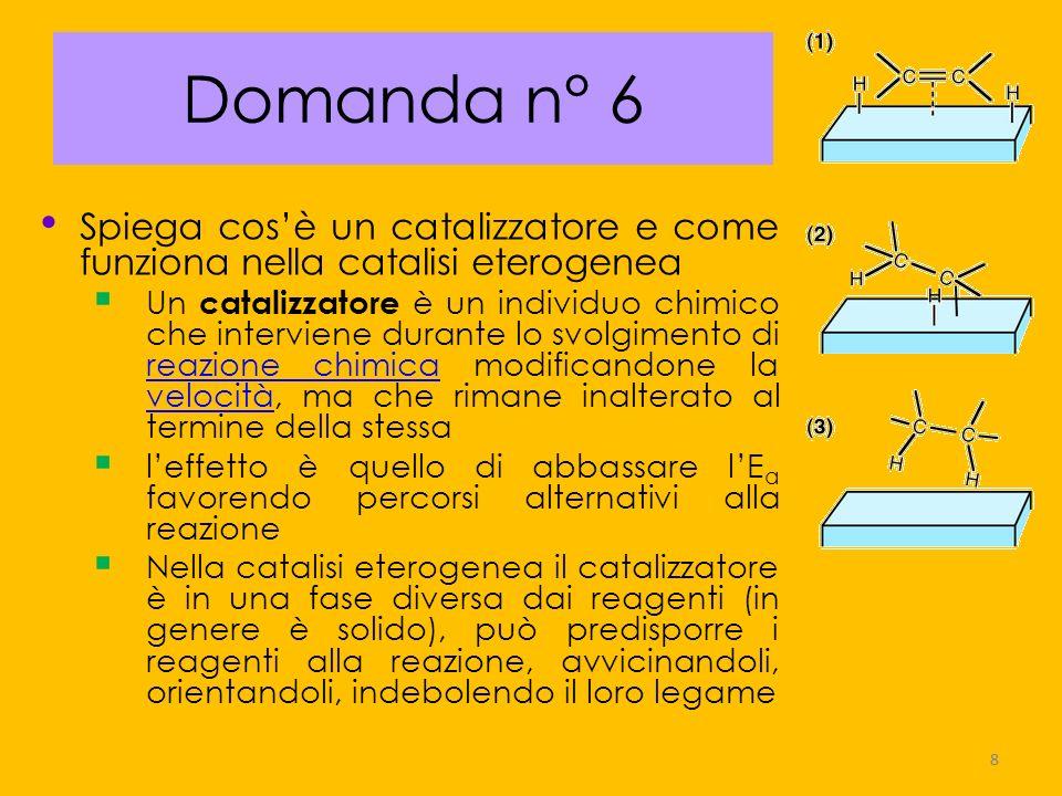 Domanda n° 6Spiega cos'è un catalizzatore e come funziona nella catalisi eterogenea.