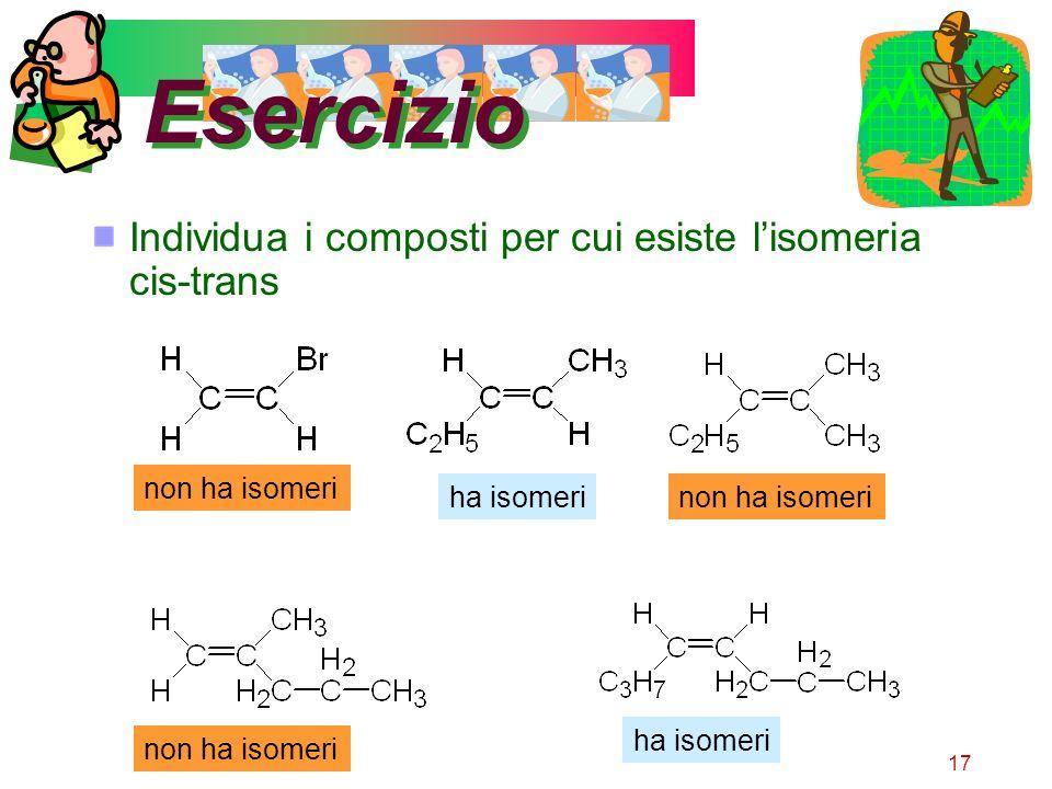 Esercizio Individua i composti per cui esiste l'isomeria cis-trans