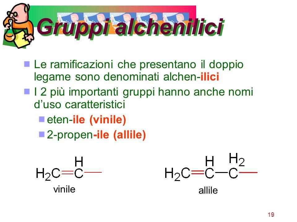 Gruppi alchenilici Le ramificazioni che presentano il doppio legame sono denominati alchen-ilici.