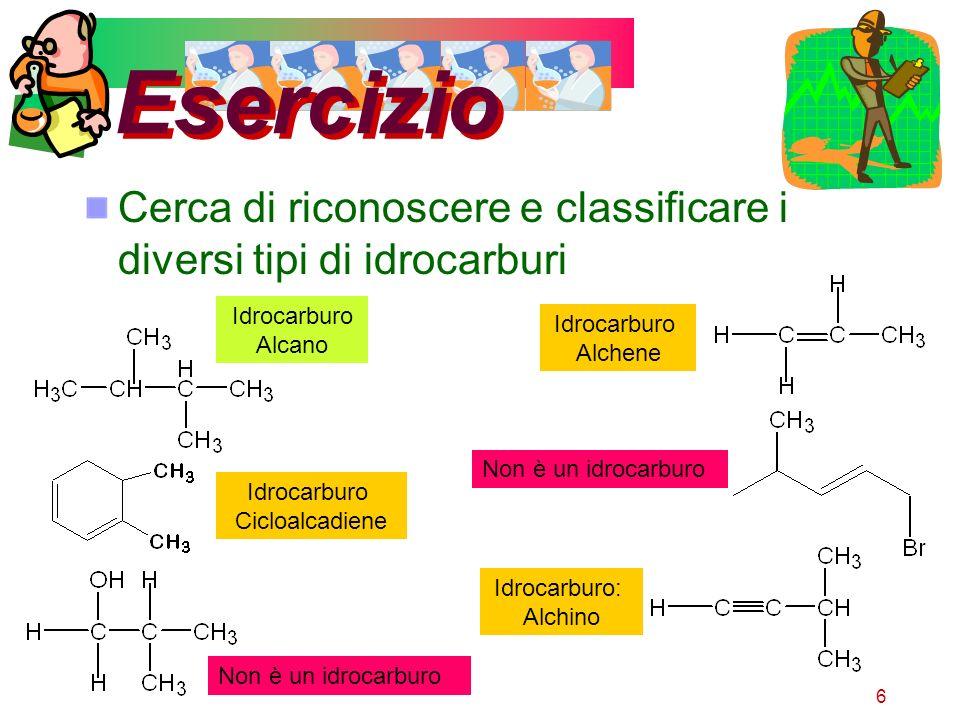 Esercizio Cerca di riconoscere e classificare i diversi tipi di idrocarburi. Idrocarburo. Alcano.