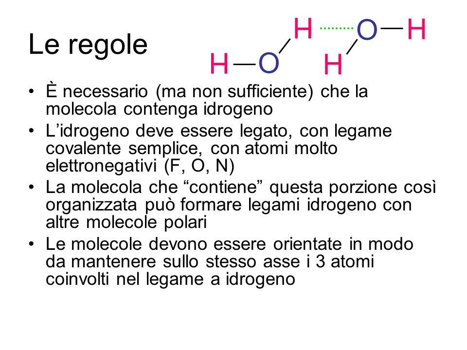 H O. O. H. Le regole. H. È necessario (ma non sufficiente) che la molecola contenga idrogeno.