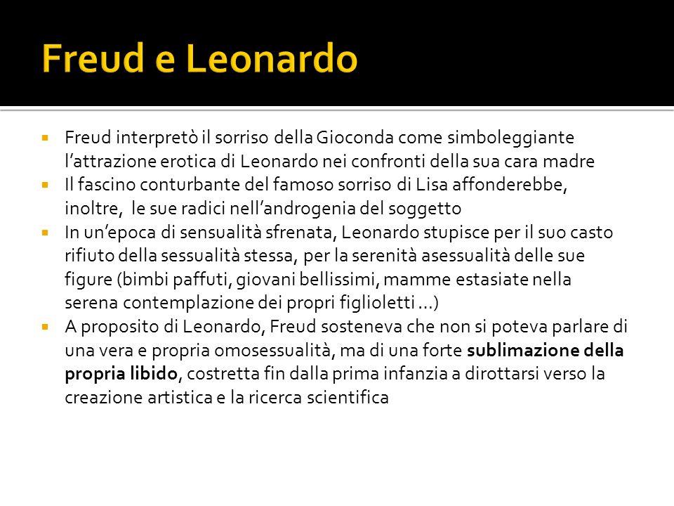 Freud e Leonardo Freud interpretò il sorriso della Gioconda come simboleggiante l'attrazione erotica di Leonardo nei confronti della sua cara madre.
