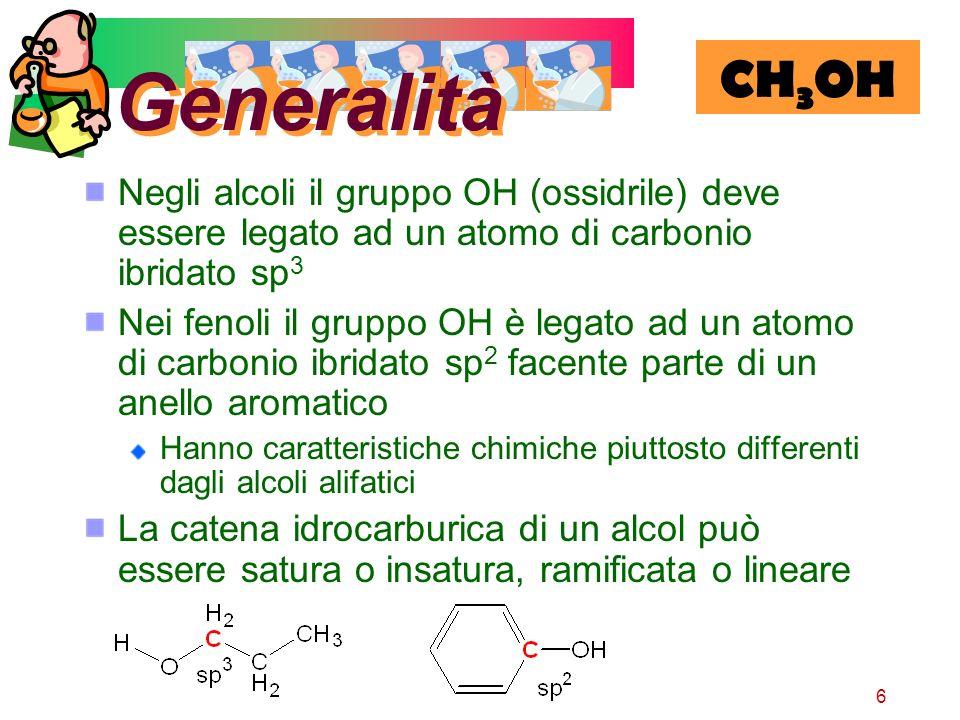 Generalità CH3OH. Negli alcoli il gruppo OH (ossidrile) deve essere legato ad un atomo di carbonio ibridato sp3.