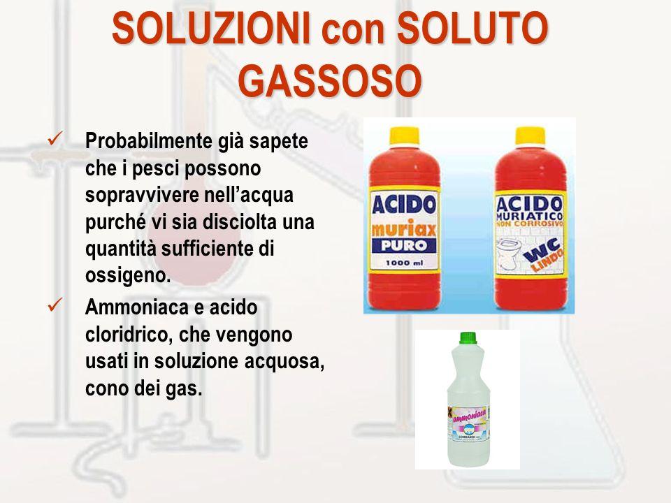 SOLUZIONI con SOLUTO GASSOSO