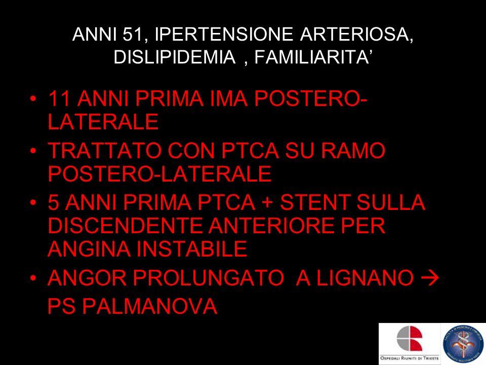 ANNI 51, IPERTENSIONE ARTERIOSA, DISLIPIDEMIA , FAMILIARITA'