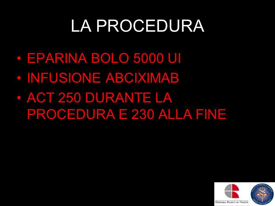 LA PROCEDURA EPARINA BOLO 5000 UI INFUSIONE ABCIXIMAB