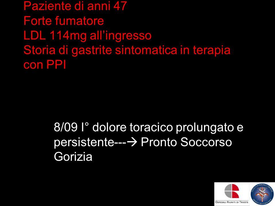 Paziente di anni 47 Forte fumatore LDL 114mg all'ingresso Storia di gastrite sintomatica in terapia con PPI
