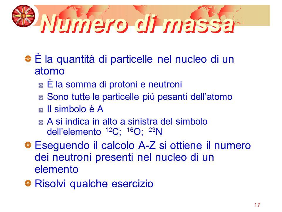 Numero di massa È la quantità di particelle nel nucleo di un atomo