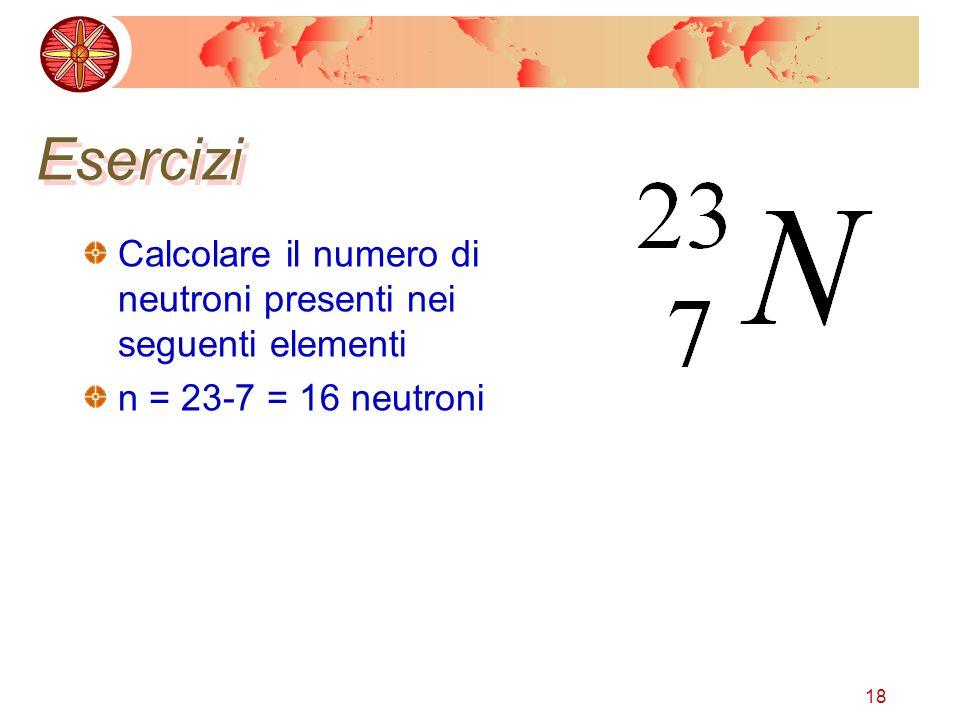 Esercizi Calcolare il numero di neutroni presenti nei seguenti elementi n = 23-7 = 16 neutroni