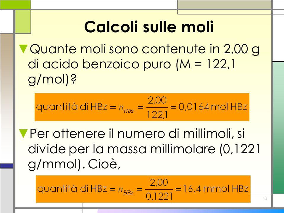 Calcoli sulle moli Quante moli sono contenute in 2,00 g di acido benzoico puro (M = 122,1 g/mol)