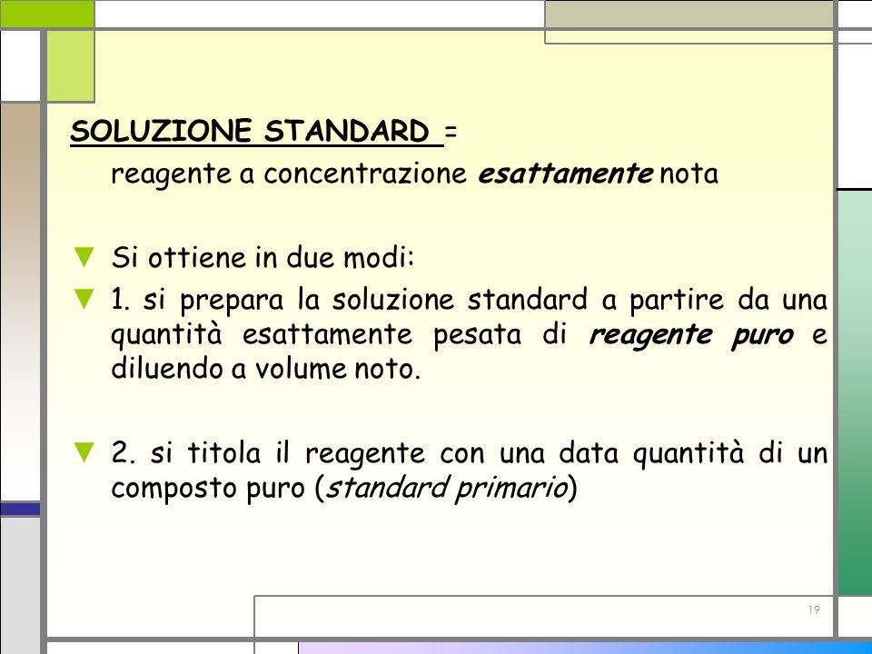 SOLUZIONE STANDARD = reagente a concentrazione esattamente nota. Si ottiene in due modi: