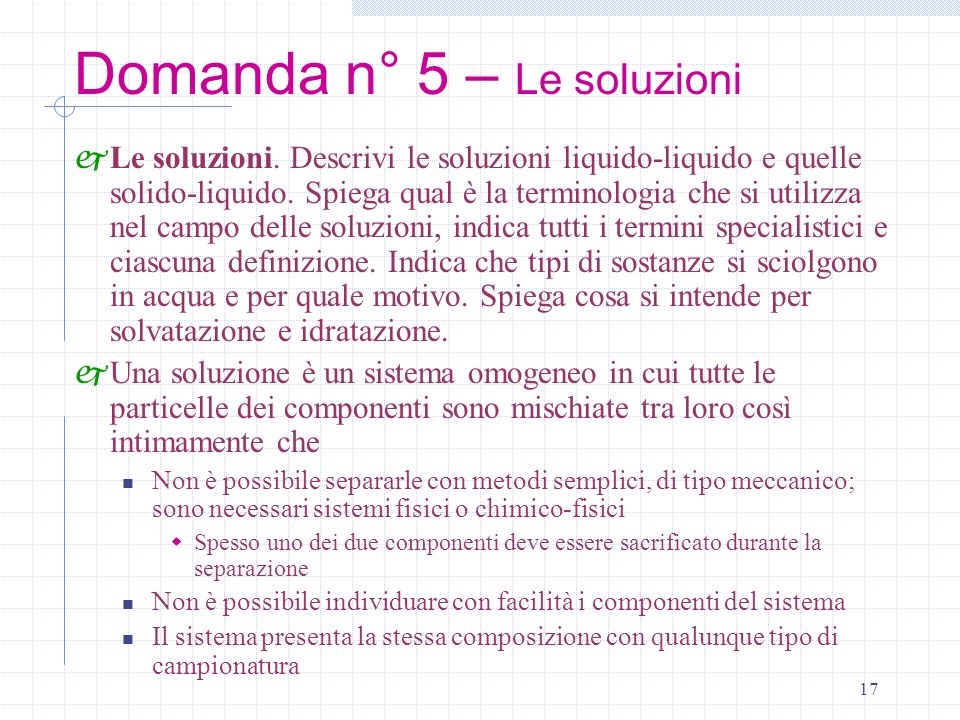 Domanda n° 5 – Le soluzioni