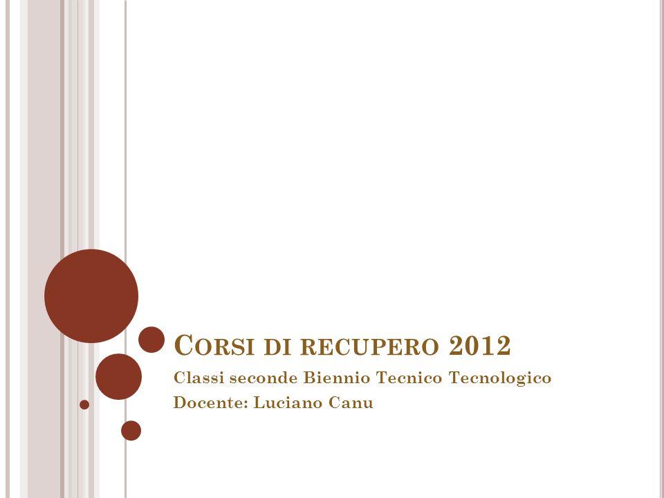 Classi seconde Biennio Tecnico Tecnologico Docente: Luciano Canu