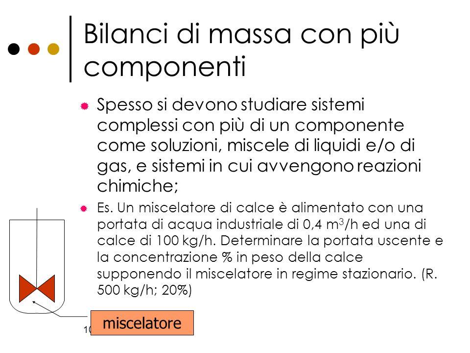 Bilanci di massa con più componenti