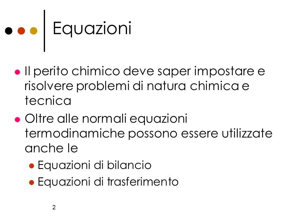 Equazioni Il perito chimico deve saper impostare e risolvere problemi di natura chimica e tecnica.