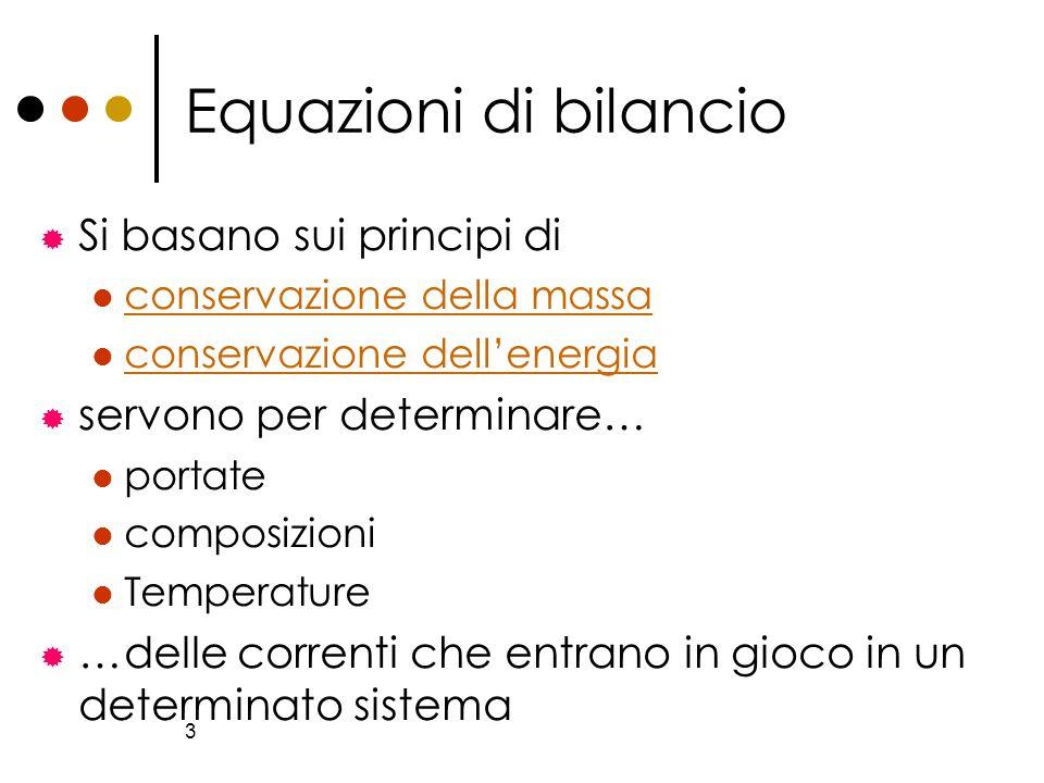 Equazioni di bilancio Si basano sui principi di