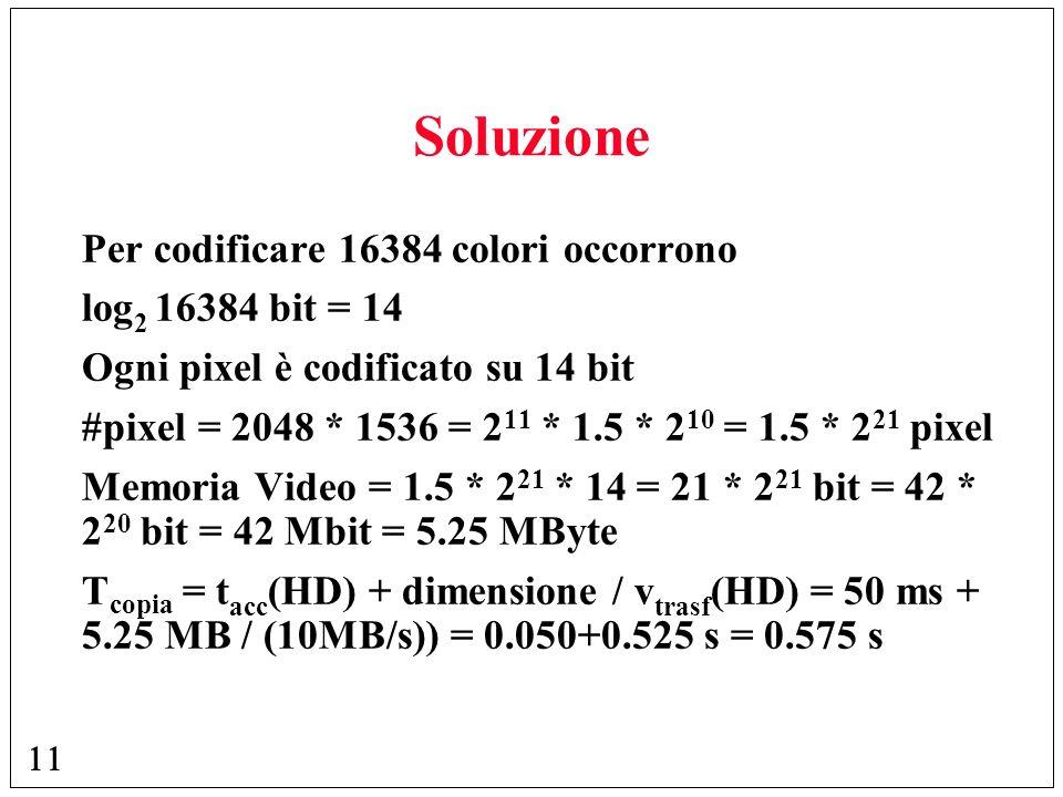 Soluzione Per codificare 16384 colori occorrono log2 16384 bit = 14