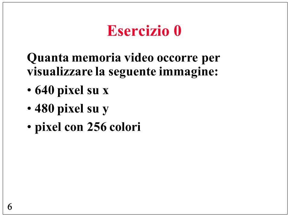 Esercizio 0 Quanta memoria video occorre per visualizzare la seguente immagine: 640 pixel su x. 480 pixel su y.