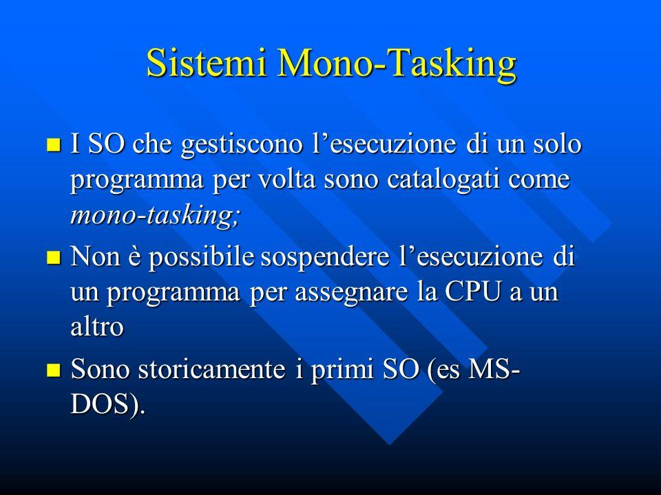 Sistemi Mono-Tasking I SO che gestiscono l'esecuzione di un solo programma per volta sono catalogati come mono-tasking;