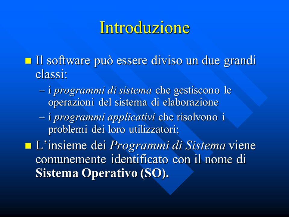 Introduzione Il software può essere diviso un due grandi classi: