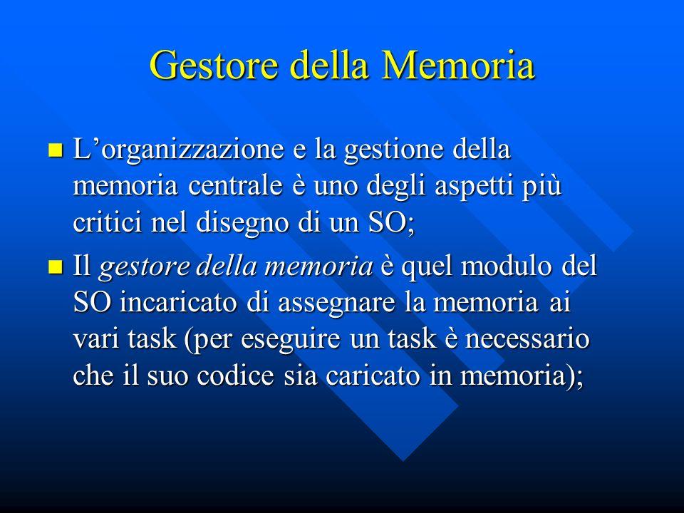 Gestore della Memoria L'organizzazione e la gestione della memoria centrale è uno degli aspetti più critici nel disegno di un SO;