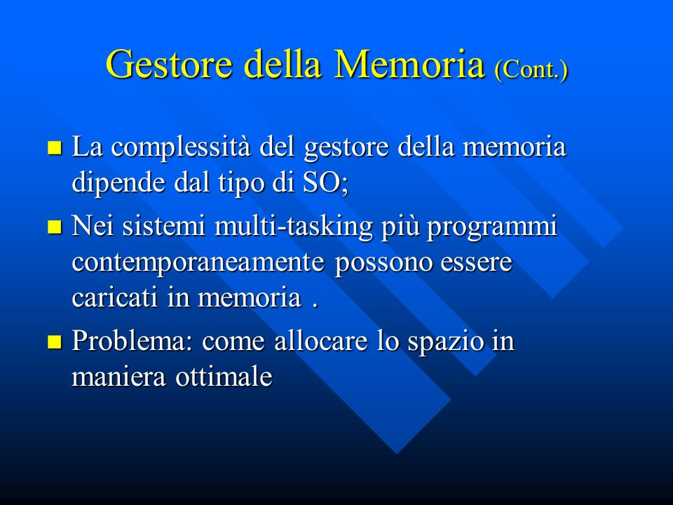 Gestore della Memoria (Cont.)