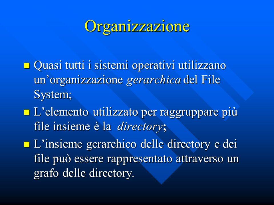 Organizzazione Quasi tutti i sistemi operativi utilizzano un'organizzazione gerarchica del File System;