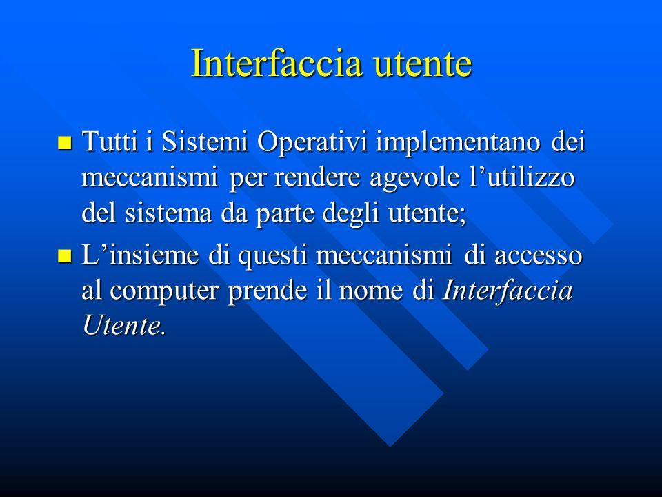 Interfaccia utente Tutti i Sistemi Operativi implementano dei meccanismi per rendere agevole l'utilizzo del sistema da parte degli utente;