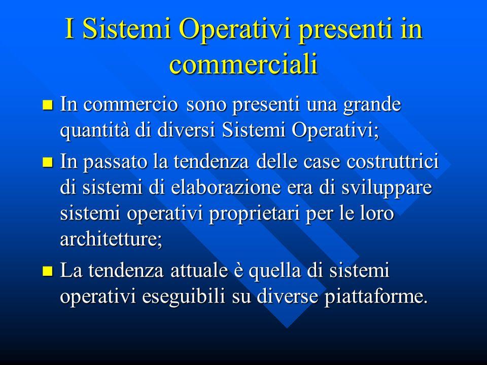 I Sistemi Operativi presenti in commerciali