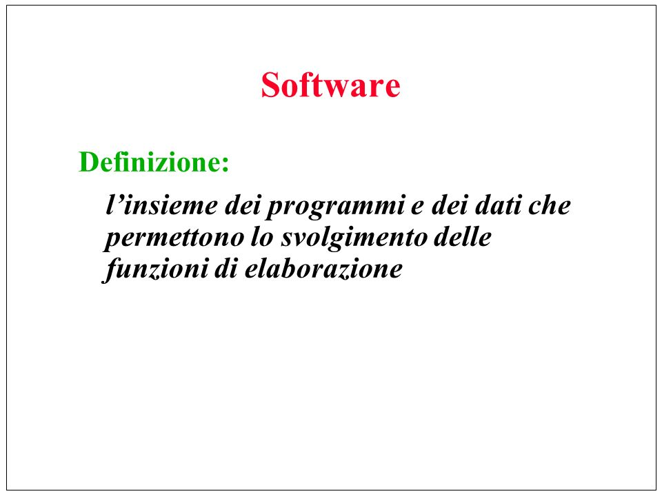 Software Definizione: