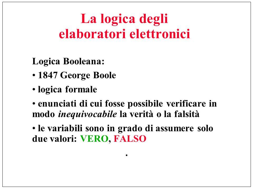 La logica degli elaboratori elettronici