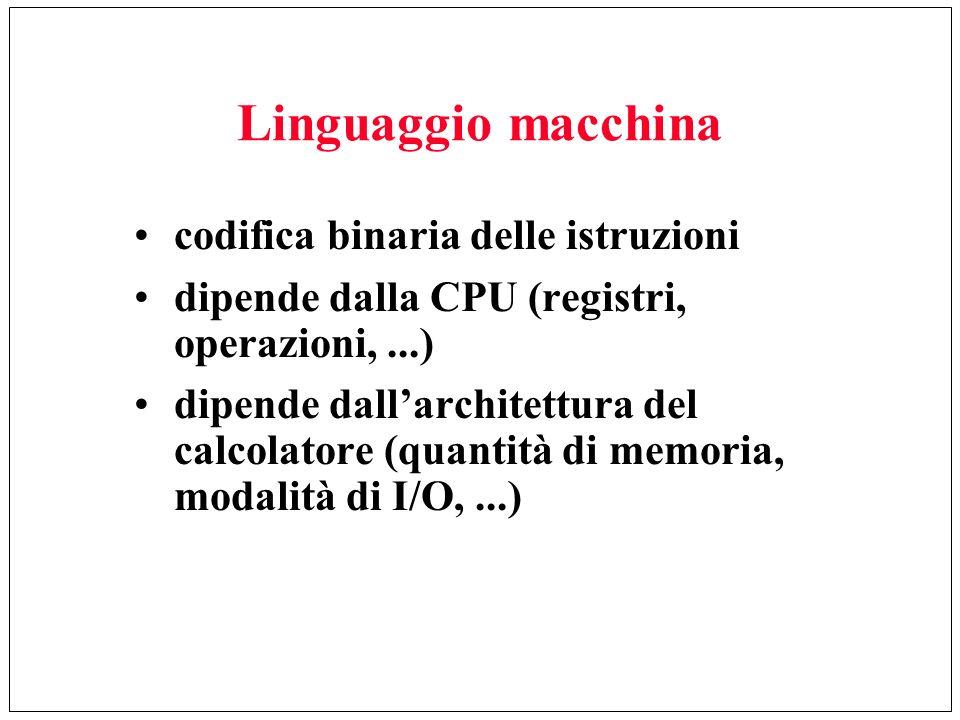 Linguaggio macchina codifica binaria delle istruzioni