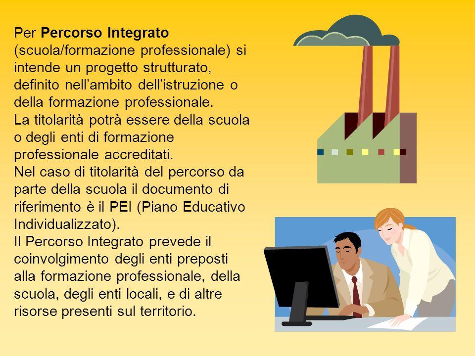 Per Percorso Integrato (scuola/formazione professionale) si intende un progetto strutturato, definito nell'ambito dell'istruzione o della formazione professionale.