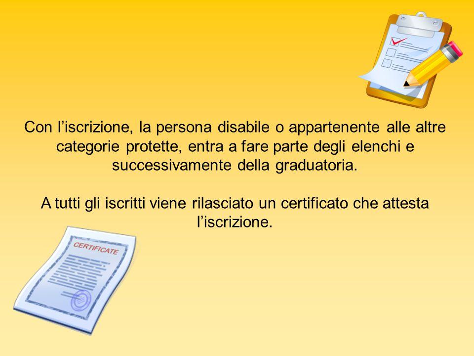 Con l'iscrizione, la persona disabile o appartenente alle altre categorie protette, entra a fare parte degli elenchi e successivamente della graduatoria.