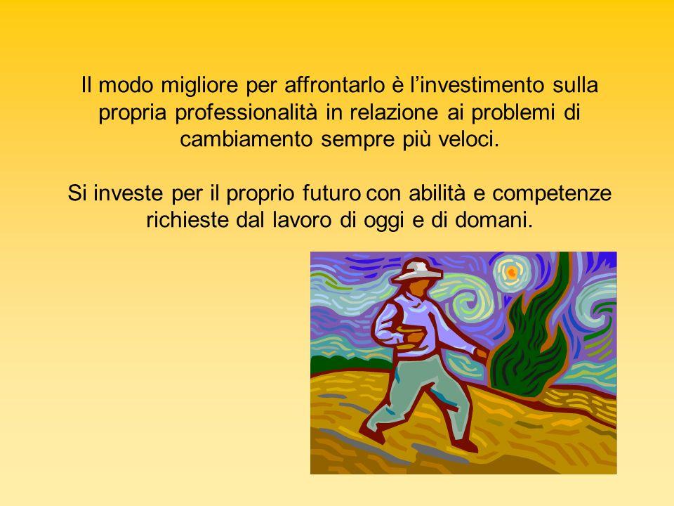 Il modo migliore per affrontarlo è l'investimento sulla propria professionalità in relazione ai problemi di cambiamento sempre più veloci.