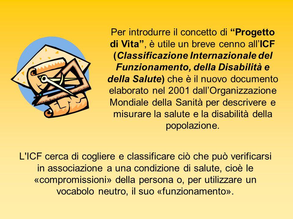 Per introdurre il concetto di Progetto di Vita , è utile un breve cenno all'ICF (Classificazione Internazionale del Funzionamento, della Disabilità e della Salute) che è il nuovo documento elaborato nel 2001 dall'Organizzazione Mondiale della Sanità per descrivere e misurare la salute e la disabilità della popolazione.