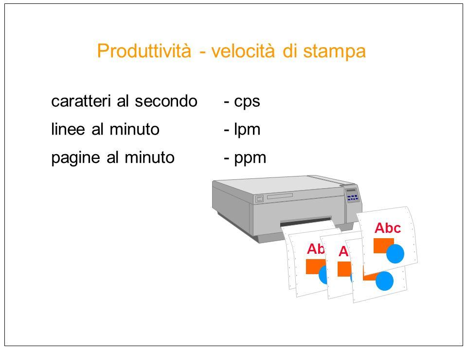 Produttività - velocità di stampa