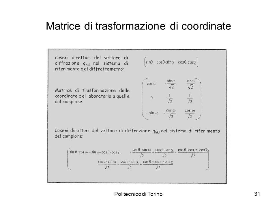 Matrice di trasformazione di coordinate