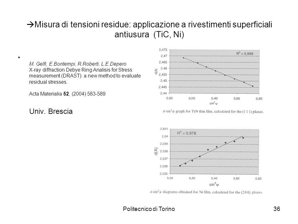 Misura di tensioni residue: applicazione a rivestimenti superficiali antiusura (TiC, Ni)