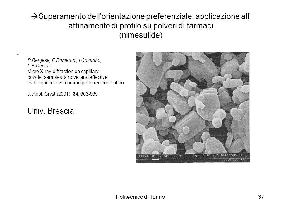 Superamento dell'orientazione preferenziale: applicazione all' affinamento di profilo su polveri di farmaci (nimesulide)