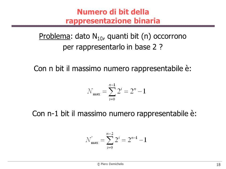 Numero di bit della rappresentazione binaria