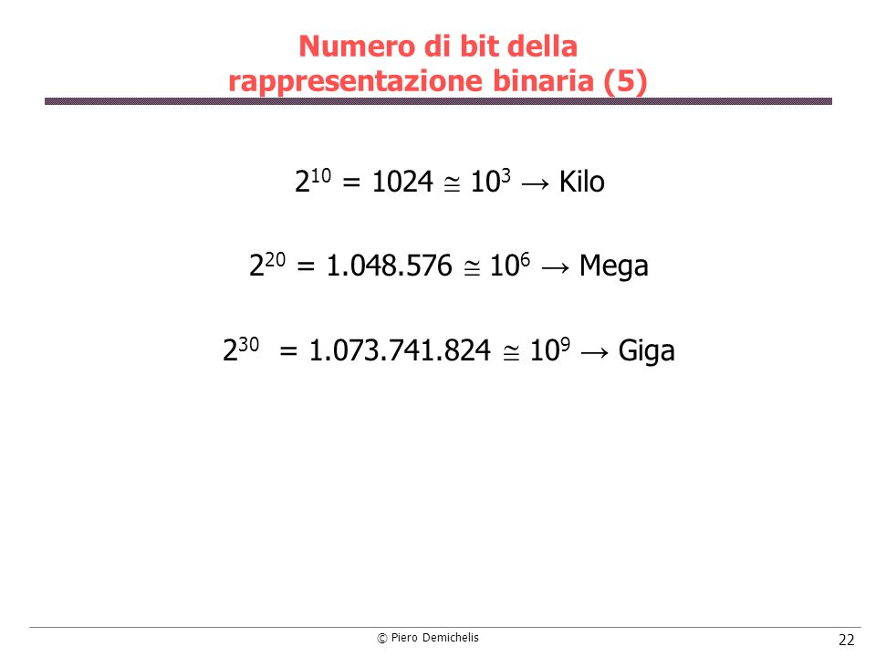 Numero di bit della rappresentazione binaria (5)
