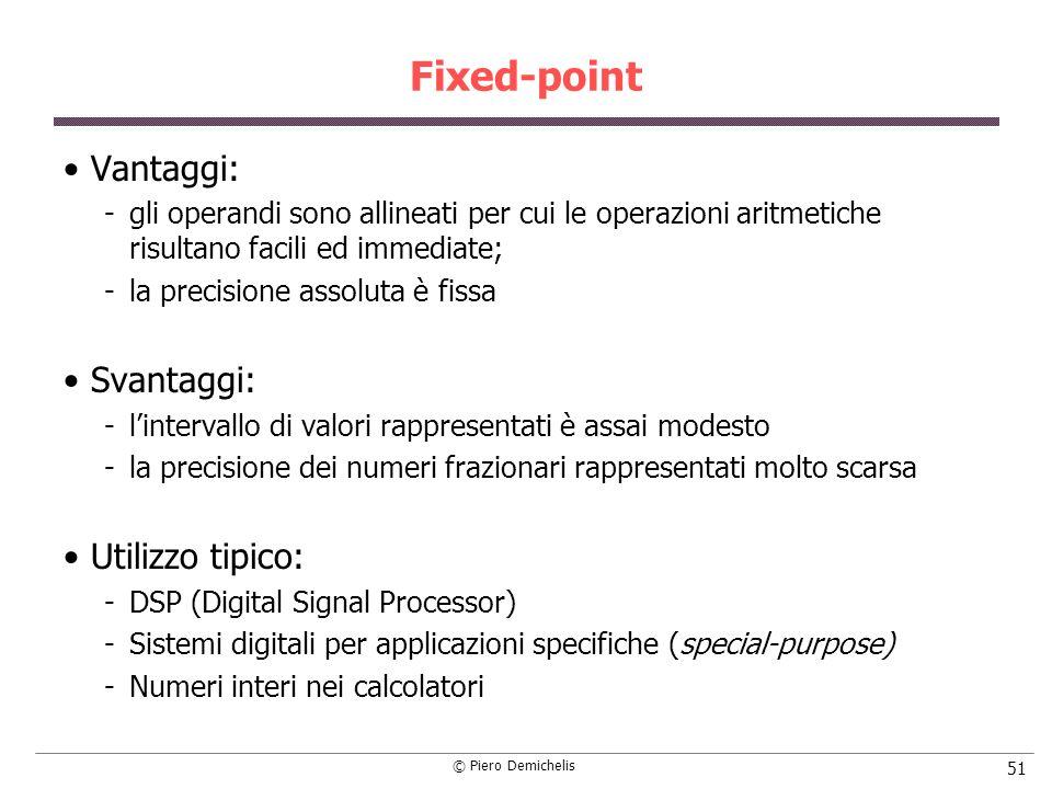 Fixed-point Vantaggi: Svantaggi: Utilizzo tipico: