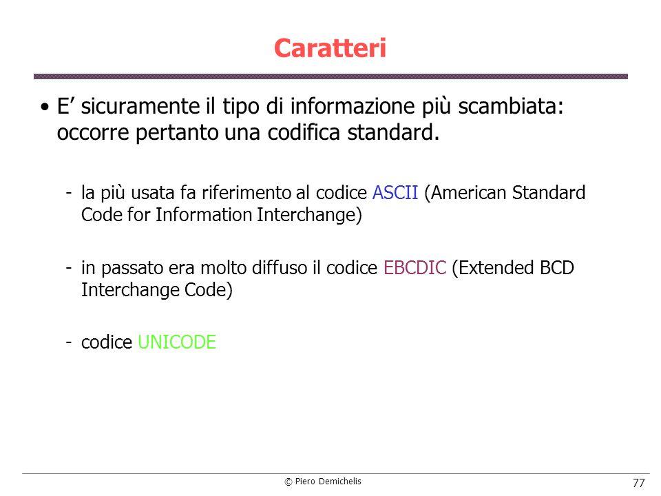 Caratteri E' sicuramente il tipo di informazione più scambiata: occorre pertanto una codifica standard.