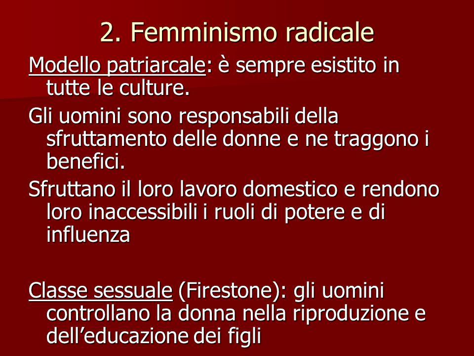 2. Femminismo radicale Modello patriarcale: è sempre esistito in tutte le culture.