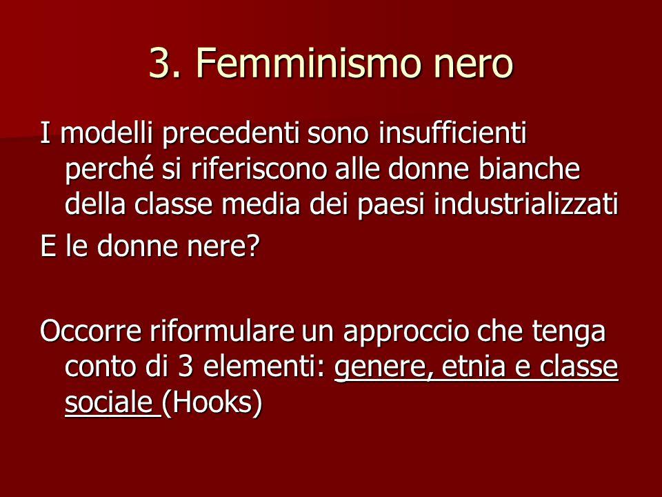 3. Femminismo nero I modelli precedenti sono insufficienti perché si riferiscono alle donne bianche della classe media dei paesi industrializzati.