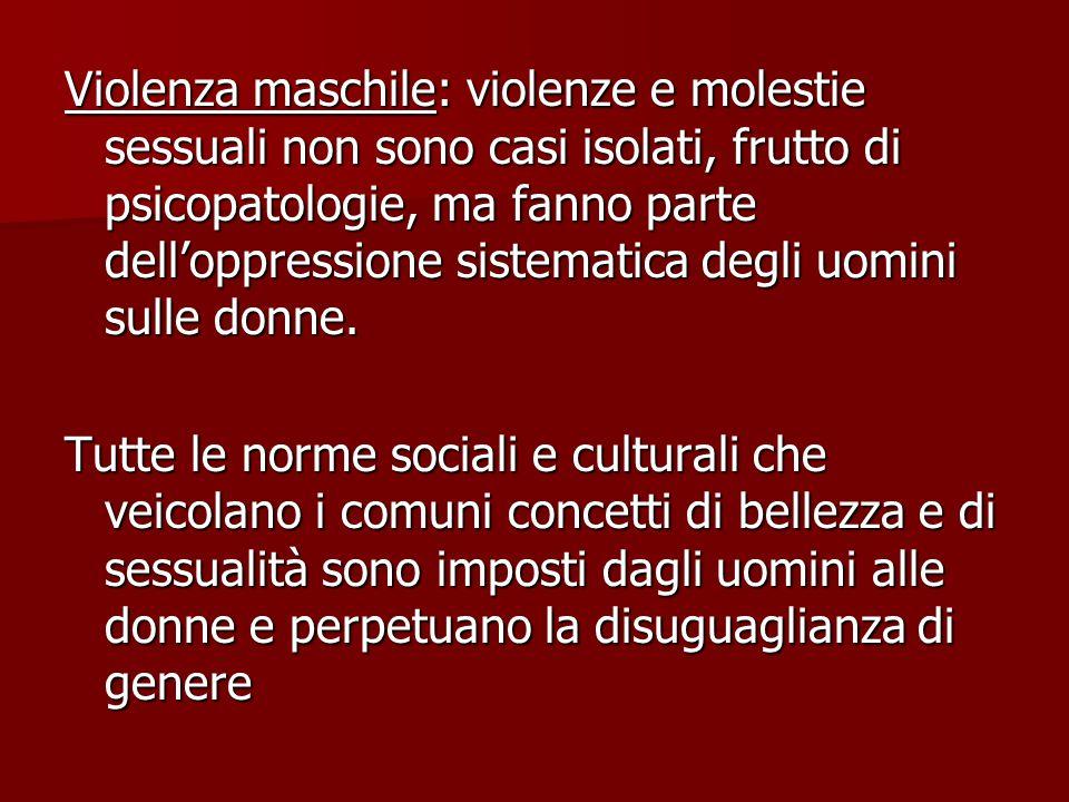 Violenza maschile: violenze e molestie sessuali non sono casi isolati, frutto di psicopatologie, ma fanno parte dell'oppressione sistematica degli uomini sulle donne.