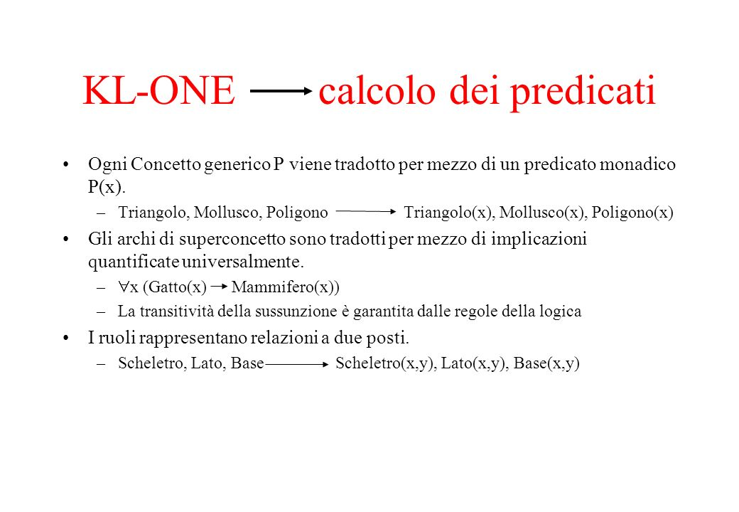 KL-ONE calcolo dei predicati